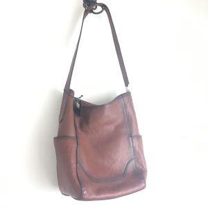 Frye leather side pocket hobo cognac